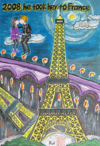 2008年他带她去法国巴黎旅游