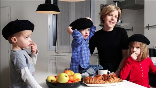 Pamela和她的三个混血孩子